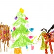 Child's drawing - family Christmas dinner — Stock Photo