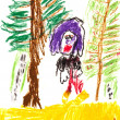 Child's drawing - in woods — Stock Photo
