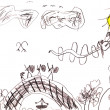 Child's drawing - fairy battle - Stock Photo