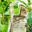 Child's paiting - old stone stairway — Stock Photo