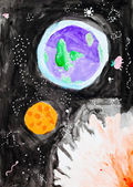 Child's painting - planet, sun in space — Stock Photo
