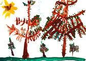 детский рисунок - еловых деревьев в летний день — Стоковое фото