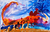 Child's paiting - scorpion in desert — Stock Photo