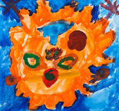 Child's painting - orange face of sun — Stock Photo