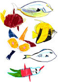 Child's drawing - tropical fishes — Photo