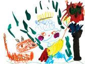 детский рисунок - мальчик с кошкой открытый — Стоковое фото