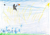 Child's drawing - bird under summer fielld — Stock Photo