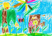 Child's drawing - summer lawn with tree and flowers — Stock Photo