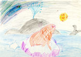 Child's drawing - whale and seal on ice block in ocean — Stock Photo