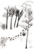 Child's drawing - footprints in snow — Stock Photo