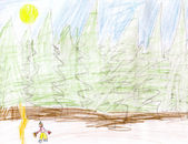 Child's drawing - man and woods — Stock Photo