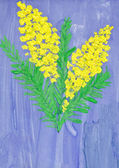 Child's drawing - sprig of mimosa — Stock Photo
