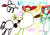 Child's drawing - happy family on the hunt — Stock fotografie