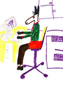 Child's drawing - donkey in office — Stock Photo