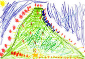 Child's drawing - green mount — Stock Photo