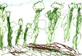 Child's drawing - green — Stock Photo