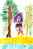 Child's drawing - in woods — Stockfoto