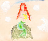 Child's paiting - siren on the rock — Stock Photo