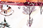 Child's paiting - winter country landscape — Stock Photo