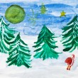 Stock Photo: Child's paiting - winter forest and Santa Claus