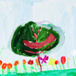 Child's painting - green tree and flowers — Stock Photo