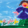 Child's painting - girl near flower bed — Stock Photo