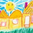 Child's drawing - country houses — Stock Photo