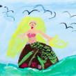 Childs paiting - siren in sewaves — Stock Photo #25253317