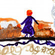 Child's drawing - woman on train station — Stock Photo #25253355