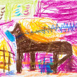 Stock Photo: Child's drawing - horse with golden mane stays in stable
