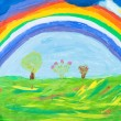Child's paiting - rainbow under green earth — Stock Photo #25253979