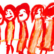 Child's drawing - red — Stock Photo #25254289
