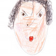 Child's drawing - portrait of angry woman — Stock Photo #25254413