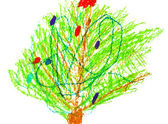 Child's drawing - decorated christmas tree — Stock Photo