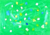 Barns målning - blommor på ängen — Stockfoto