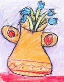 Child's drawing - flower vase — Stock Photo