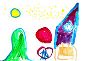 Child's drawing - new year scenery — Stock Photo