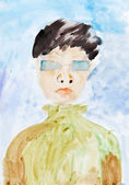 Child's painting - man in blue glasses — Stock Photo