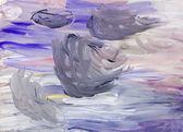 Child's painting -grey gouache brush strokes — Stock Photo