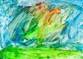 Child's painting - green and blue gouache brush strokes — Stock Photo