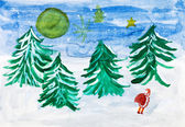 Child's paiting - winter forest and Santa Claus — Stockfoto
