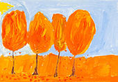 Child's painting - yellow trees — Stock Photo