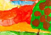 Child's painting - autumn sunset and apple tree — Stock Photo
