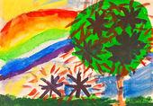 Child's paiting - rainbow under fruit garden — Stock Photo