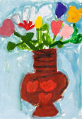 Child's paiting - flowers in ceramic vase — Stock Photo