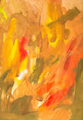 Child's painting - orange gouache brush strokes — Stock Photo
