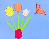 Child's applique - tulips in vase — Stock Photo