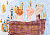 Child's drawing - Kremlin in Moscow — Stock Photo
