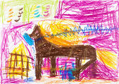Child's drawing - horse with golden mane stays in stable — Stock Photo