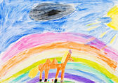 Child's drawing - horse under rainbow — Stock Photo